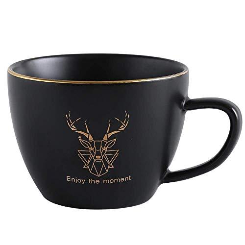 Turtle Story Juego de taza de café y platillo de cerámica para oficina, tazas de té de leche, regalos para parejas, taza de amigos con cuchara, verde oscuro JXNB
