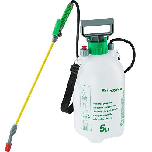TecTake 402574 - Drucksprüher 5 Liter, Füllstandsanzeige, Praktischer Pumphebel, Verstellbarer Tragegurt