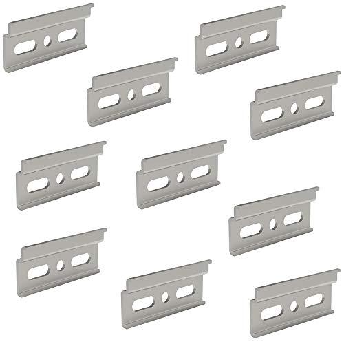 Trägerplatte Schrankaufhänger Küchen-Schrank Aufhängeschiene - Oberschrank | Länge 60 mm | Stahl verzinkt | Schrank-Schiene mit Aushänge-Sicherung für Hängeschrank | 10 Stück - Wand-Halterungen Metall