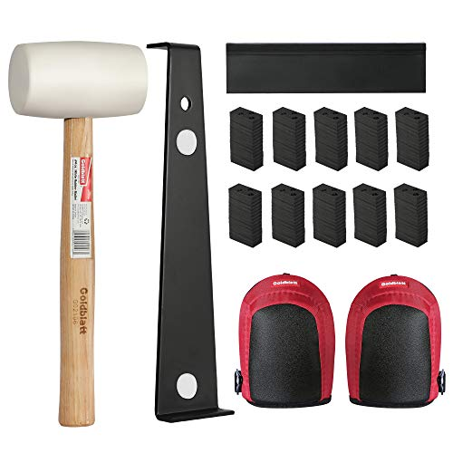 Goldblatt Laminate Wood Flooring Installation Kit with 100 Spacers, Tapping Block, Heavy Duty Pull Bar, White Double-Faced Mallet and Protective Keen Pads