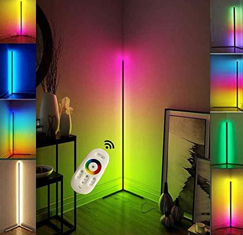 YRBDSA 20W Lámpara de Pie Lámpara de Pie de Esquina LED Ajuste de Temperatura de Color Infinito Ajuste de Luz de Color RGB para Salas de Estar Dormitorios Bricolaje,Negro