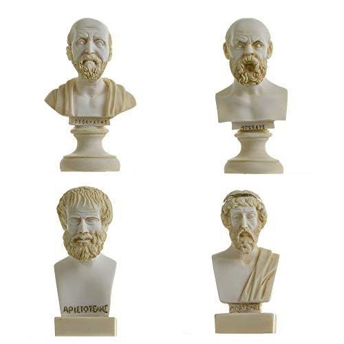 Conjunto De Bustos De Filósofos Griegos Sócrates Aristóteles Hipócrates Platón Estatuas De Alabastro Tono Dorado