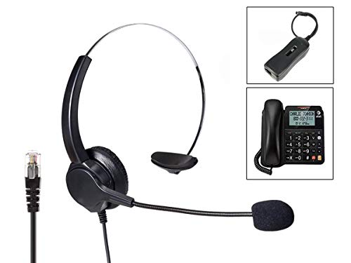 A2ZWORLD LEDLUX VH500-RJ9 Auricular Monoaural RJ9 Micrófono Auricular Profesional para Teléfono fijo IP Phone Oficina Empresa Incluido Adaptador Libre Tus Manos