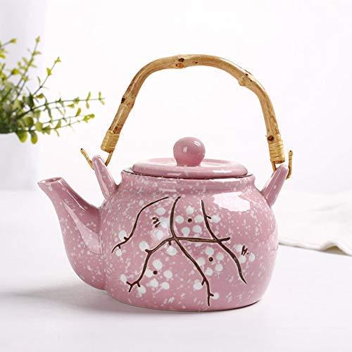 RDSUL Tetera de cerámica Estilo del Viento de cerámica Tetera de cerámica Tetera Japonesa y Kung Fu Juego de té Taza de té Floral Floral Tetera de té de la Tarde Set 850 ml, c.