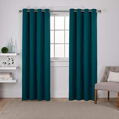 Exclusive Home Curtains EH7981-11 2-84G Sateen Twill Woven Blackout Grommet Top Curtain Panel Pair, 52x84, Sapphire Teal, 2 Piece