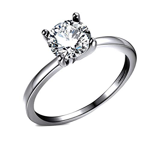 Envy Sterling Silver Engagement Ring Round Hearts and Arrows Cut 1.5 Ct Clear or Black Cubic Zirconia Bridal Promise Wedding Jewelry for Women by Ginger Lyne Fashion Jewelry Size 6