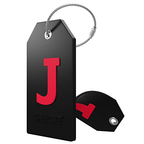 Initial Luggage Tag with Full Privacy Cover and Stainless Steel Loop (Black) (J)