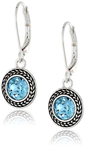 "ONLINE CLEARANCE!- Napier ""Color Declaration"" Silver-Tone Aqua Swarovski Stone Leverback Drop Earrings."