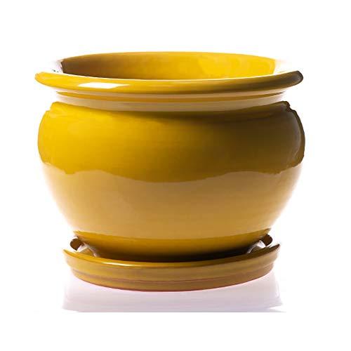 Alfareros Damian Canovas Maceta DE Barro ESMALTADA EN Color Amarillo + Plato.Modelo CARPIN.Medidas 22 X 16.