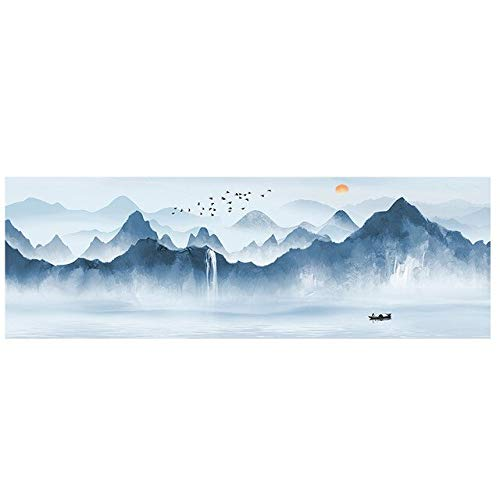 N / A Abstract Mountain Boat Lake Panorama Landscape Canvas Painting Scandinavian Poster Used For Living Room Mural Frameless 30x80cm
