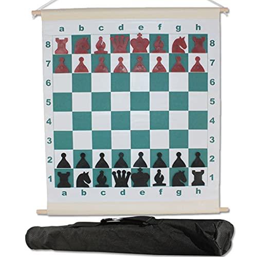 HJHJ Ajedrez creativo magnético conjunto de ajedrez enseñanza internacional conjunto tablero de demostración de ajedrez montado en la pared con bolsa de transporte negro para niños 26x30 pulgadas