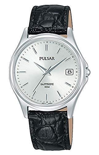 Pulsar Quarz Herren-Uhr mit Palladiumauflage und Lederband PXHA71X1