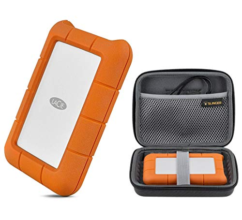 LaCie 2TB Rugged USB 3.0 Type-C Portable External Hard Drive HHD (STFR2000800) with Slinger Hard Drive Case, Includes 1 Month Adobe CC