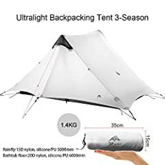 """Flysheet: 15D Nylon (Waterproof Index 5000mm),Inner tent High density mesh,Bottom of Tent 20D Nylon (Waterproof Index 8000mm) Stretch out comfortably:1 person tent with capacious set up size: 83""""*30""""49"""" (L*W*H),2 person tent size: 83""""*43""""*47"""" (L*W*H)..."""