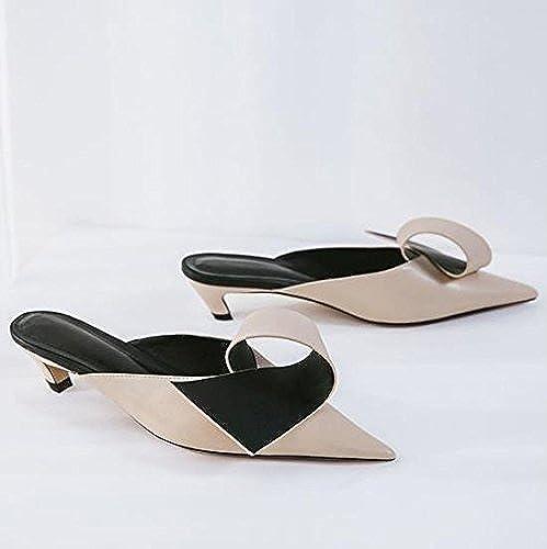AJUNR Moda elegante Transpirable Sandalias Baotou zapatillas sugerencia beige con zapatos de 5cm