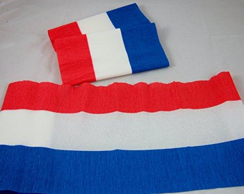 6 Rouge Blanc et Bleu Drapeau Papier crépon se replie 3 m x 24,4 cm (9.5ins) Plus lourd que standard et Crépon ignifuge. nombreuses utilisations comme décorations, Outils Marketing préféré, idéal avec les Écoles Et L'Industrie de la Craft