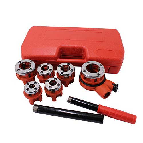 """HFS (R) Ratchet Pipe Threader Kit Ratcheting Pipe Threading Tool Set w/ 6 Dies and Storage Case 1/4"""", 3/8"""", 1/2"""", 3/4"""", 1"""", 1-1/4"""" Pipe Threader Kit"""