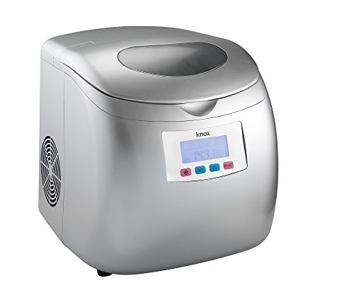 Knox Portable Compact Ice Maker w/LCD Display (Silver) - 2.8-Liter Water Reservoir, 3 Selectable Cube Sizes - Yield of up to 26.5 Pounds of Ice Daily