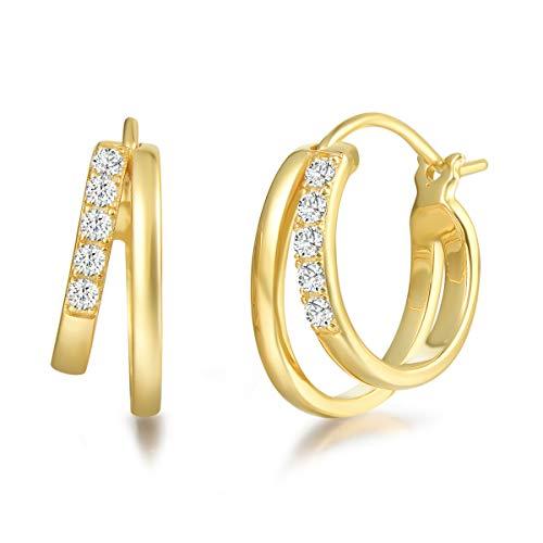 Creolen Ohrringe Breite Huggie aus 925 Sterling Silber mit Gelb Gold Plattiert mit Funkelnd Zirkonia Schmuck für Damen Frauen Mädchen - Durchmesser: 18 mm, Breite 7 mm