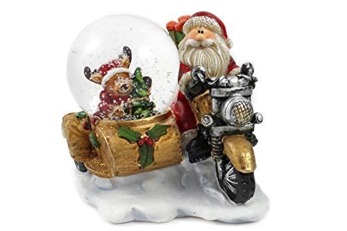 Creation Gross Schneekugel -golden- Weihnachtsmann auf Motorrad & Rentier im Beiwagen, H.: 8cm Ø45mm