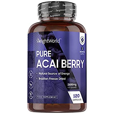Pure Acai Berry Tablets - 2600mg Strength Servings - 120 Capsules (2 Month Supply), Natural Freeze Dried Acai Berries for Diet & Health, High Vitamin Complex & Antioxidant Vegetarian Supplement