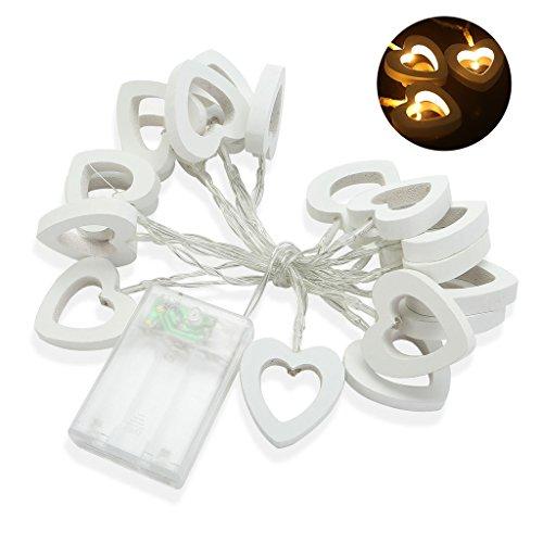 iMusi Guirlande à 20 LEDs Ampoules En Forme De Coeur Decoration Pour Maison Noël Mariage Anniversaire 200cm - Blanc chaude