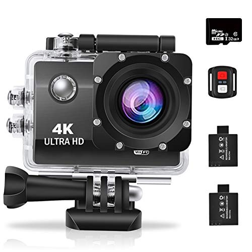 omotor 4K WiFi Sports Action Camera Ultra HD Waterproof DV Camcorder 16MP 170 Degree Wide Angle with Remote Control, 32GB Micro SD Card 2 Batteries and Mounting Accessories Kit