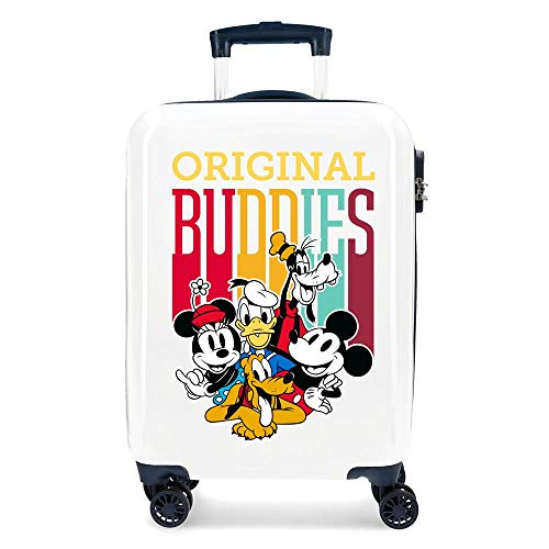 Disney Mickey Original Buddies Maleta de Cabina Azul 38x55x20 cms Rígida ABS Cierre combinación 34L 2,6Kgs 4 Ruedas Dobles Equipaje de Mano
