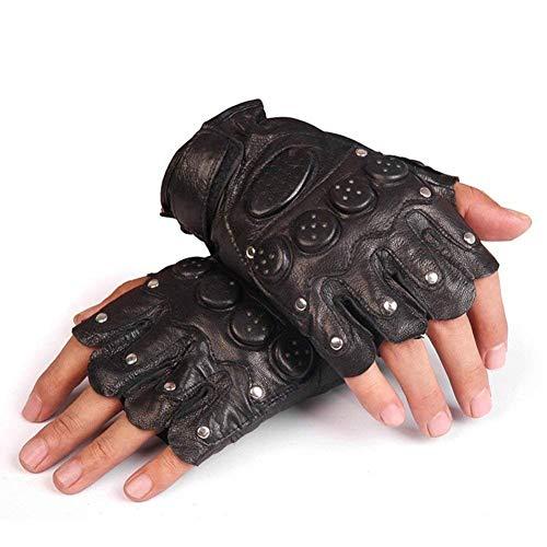 Herren Fingerlose Handschuhe, Halbfinger Lederhandschuhe für Motorrad Radfahren Motorradhandschuhe