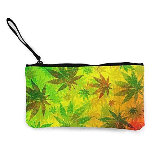 Monedero de Lona para Mujer, Marihuana Rasta Unisex Lienzo Patrón de impresión 3D Monedero Carteras para Hombres y Mujeres