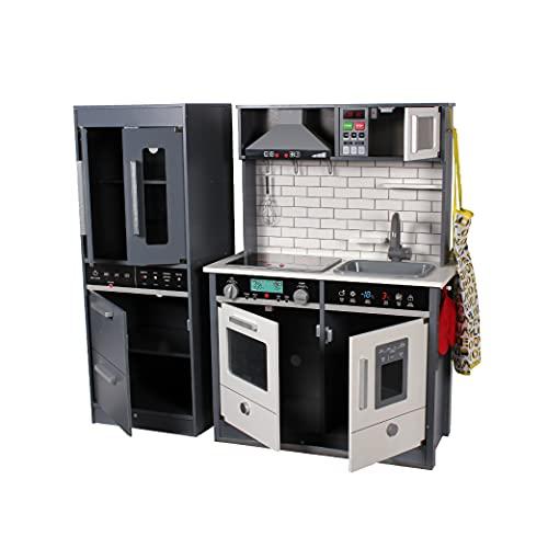 Calma Dragon Cocina de Madera Moderna TNWX-8434A, Grande, Cocinita de Juguete Infantíl, con Nevera, Congelador, Microondas, Fregadero, Horno y 8 Accesorios