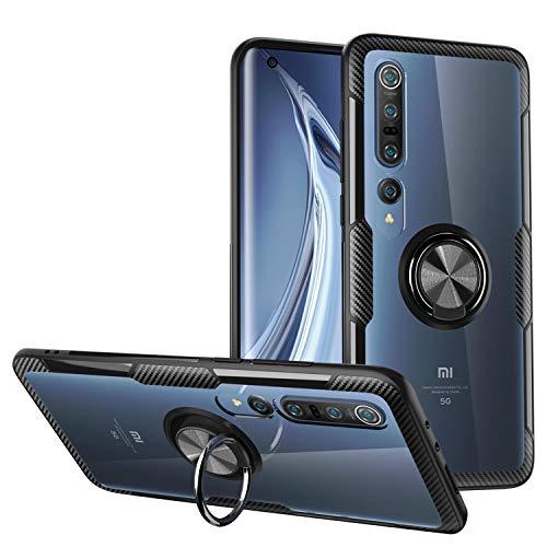 KONEE Hülle Kompatibel mit Xiaomi Mi 10/10 Pro, Transparente Handyhülle Mit 360 ° Verdrehbare Ring [ TPU + PC ], für Magnetischen Autohalterungen, Multifunktions Abdeckung für Xiaomi Mi 10/10 Pro