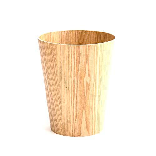 Contenedor de Basura Papelera de madera redonda bote de basura contenedores de basura Papelera de cuarto de baño, el dormitorio, dormitorio Papel Latas De Plástico Jardín ( Color : C2 , Size : L )