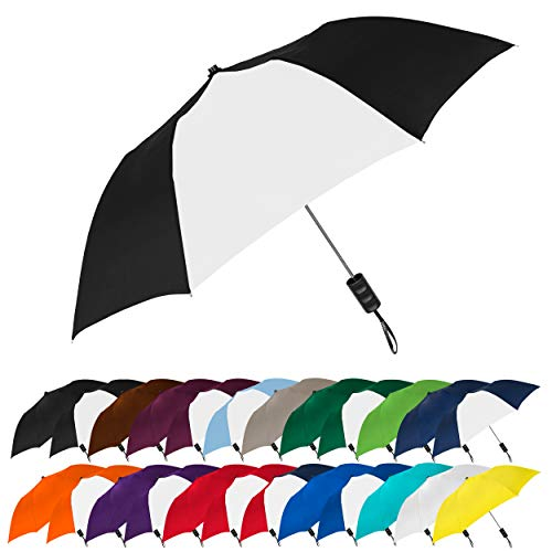 STROMBERGBRAND UMBRELLAS Spectrum Popular Style Automatic Open Close Small Light Weight Portable Compact Tiny Mini Travel Folding Umbrella for Men and Women, Black/White