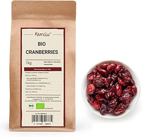 Kamelur Cranberries sechees bio - 1kg - Cranberries Bio Sans sucre ajouté - Cramberry Bio naturellement sucrées au jus de pomme