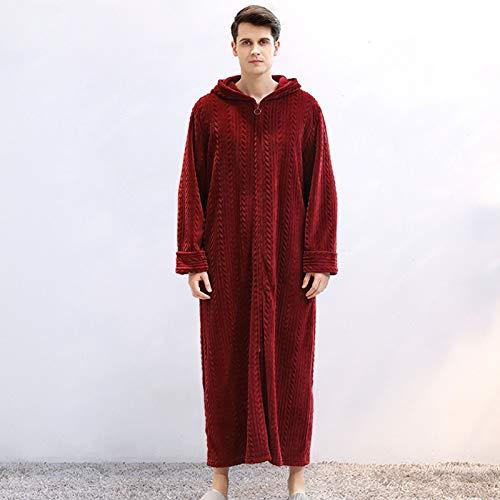 XRQ Unisex Flanell Fleece-Dressingkleid Mit Kapuze Loungewear-Reißverschluss in...