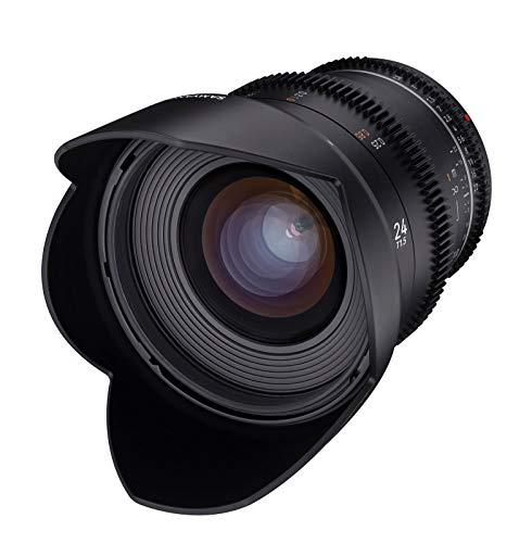 Samyang MF 24mm T1,5 VDSLR MK2 Canon EF – lichtstarkes T1,5 Weitwinkel Cine- und Video Objektiv für Canon EF Mount, 24 mm Festbrennweite, Follow Focus Zahnkränze Vollformat und APS-C, 8K Auflösung