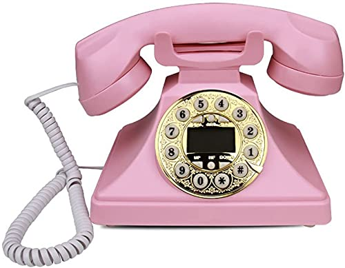 Kabelgebundenes Telefon Retro-Telefon Europäisches Kunststofftelefon Antikes Festnetztelefon Mode Kreatives Festnetz-Büro Blau und Rosa schnurloses Telefon (Color : Pink B)