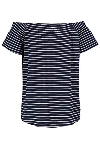 Sublevel Damen Carmen-Shirt schulterfrei und gestreift Dark-Blue XS