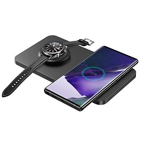 Seneo Kabellose Ladestation, 2 in 1 Kabelloses Ladegerät für Galaxy Watch, Gear, Galaxy Buds, 10W für Samsung Galaxy S20 S10 S9 Note10 Note9, 7.5W für iPhone 11 Pro Max XR XS(Kein Adapter)