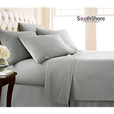Southshore Fine Linens 6 Piece - Extra Deep Pocket Sheet Set - STEEL GRAY - King