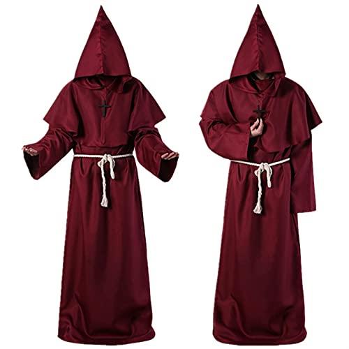 YUHUA-SHOP1983 Disfraces de la Capa de Halloween para Hombres Asistente Cosplay Cosplay Robe Medieval Sacerdote Traje Antiguo Ropa Retro Ropa de Moda Bata de Manto (Color : C-S)