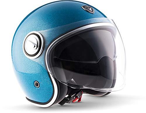 "Soxon® SP-888 Pro ""Flakes Blue"" · Jet-Helm · Motorrad-Helm Roller-Helm Scooter-Helm Moped Mofa-Helm Chopper Retro · ECE 22.05 Sonnenvisier Leather-Design Schnellverschluss SlimShell Tasche L (59-60cm)"