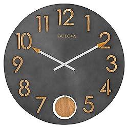 Bulova C4119 Flatiron Wall Clock, Burnished Steel Metal