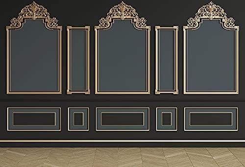 Fondo de fotografía de Pared Interior Negro Vintage Elegante patrón niños Adultos Retrato telón de Fondo Estudio fotográfico A9 9x6 pies / 2,7x1,8 m