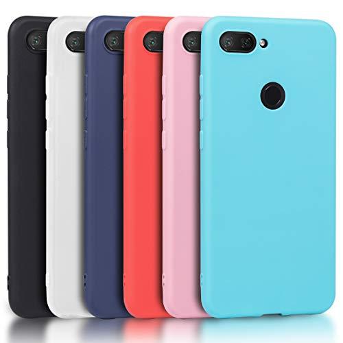 Wanxideng - 6X Funda para Xiaomi Mi 8 Lite (No para Xiaomi Mi 8), Carcasa en Silicona - [Negro + Rojo + Azul Oscuro + Rosa + Verde Menta + Azul Claro]