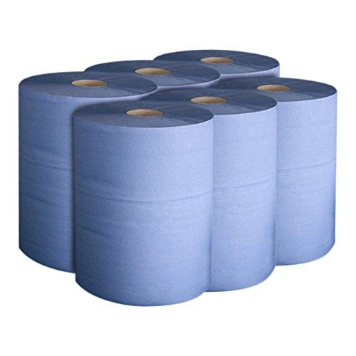 STIER Putzpapier Rollen Basic, 6 Rollen, blau, Putzrollen, 3-lagig, Länge 30 cm x Breite 23 cm, saugstarke Reinigungstücher, reißfeste Putztücher 6 Stk