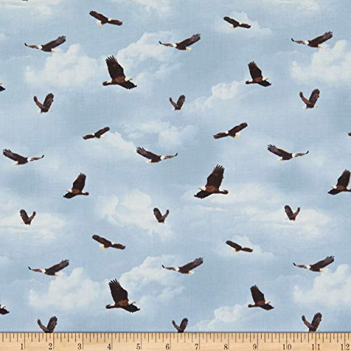 Henry Glass & Co. Henry Glass Yellowstone Flying Eagles Fabric, Blue