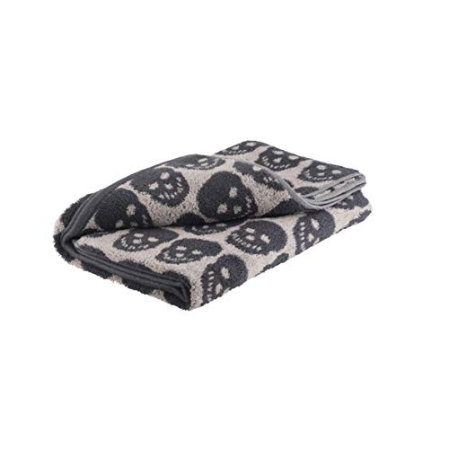 axentia Handtuch Totenkopf aus 100 % Baumwolle, Duschtuch hautsympathisch und saugfähig, großes Handtuch, Badetuch 70 x 140 cm, anthrazit/beige