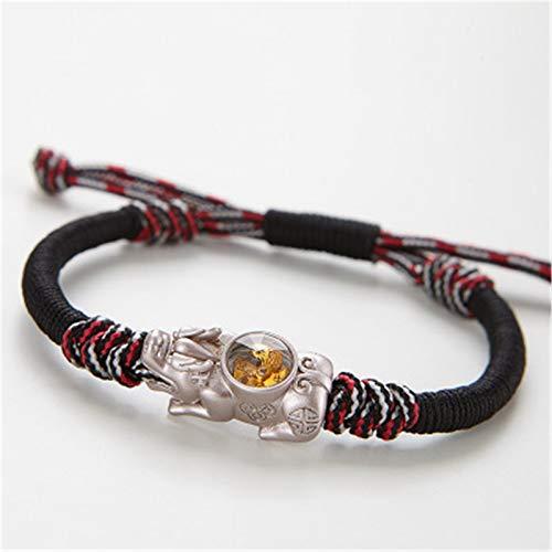 WINFCOY 1/2 Pulsera de Feng Shui Pixiu con Molino de Viento, Pulsera de Amuleto de Buena Suerte de Cuerda Trenzada Ajustable Hecha a Mano, Regalos de joyería para Pareja Unisex (B)